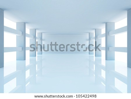 empty wide hall with columns and balks - 3d illustration - stock photo