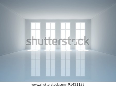 empty wide hall with french windows, classic interior - 3d illustration