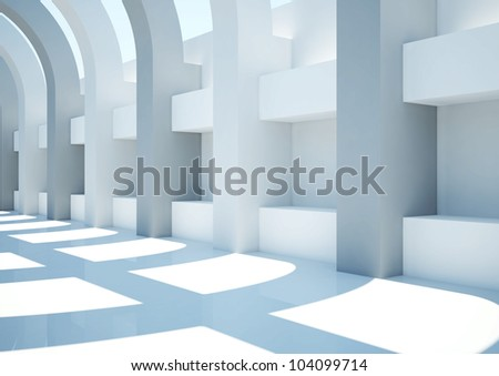 empty wide room with arched columns and balks - 3d illustration