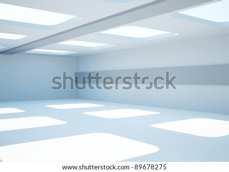empty wide room with balks and skylights - 3d illustration