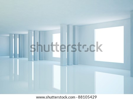 empty wide room with columns, abstract architecture - 3d illustration