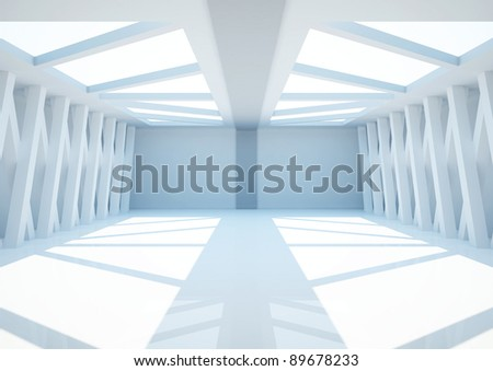 empty wide room with columns, abstract interior - 3d illustration