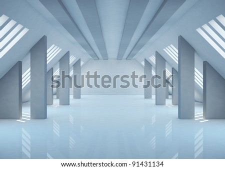 empty wide room with columns and narrow openings, abstract interior - 3d illustration