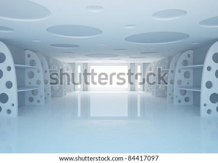 empty wide room with decorative shelves, shop interior - 3d illustration
