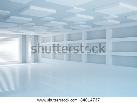 empty wide room with futuristic construction, shop interior  - 3d illustration - stock photo