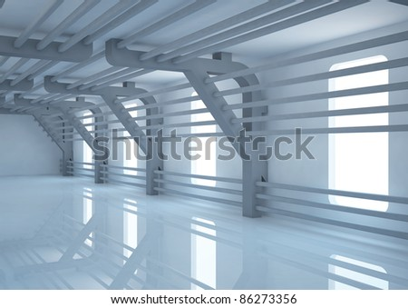 empty wide room with futuristic constructions - 3d illustration