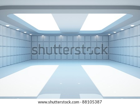 empty wide room with geometric walls, interior showroom - 3d illustration - stock photo