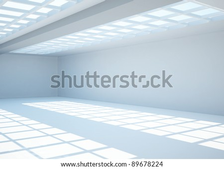 empty wide room with lattice - 3d illustration
