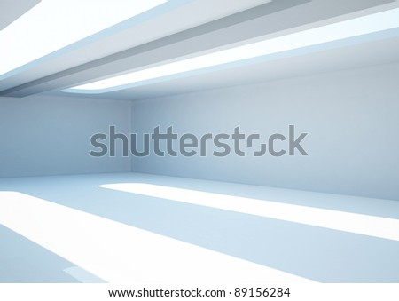 empty wide room with skylights - 3d illustration - stock photo