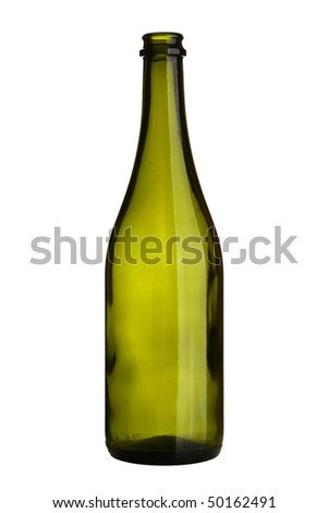 Empty wine bottle isolated over white background