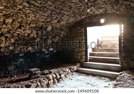 empty wine cellar - stock photo