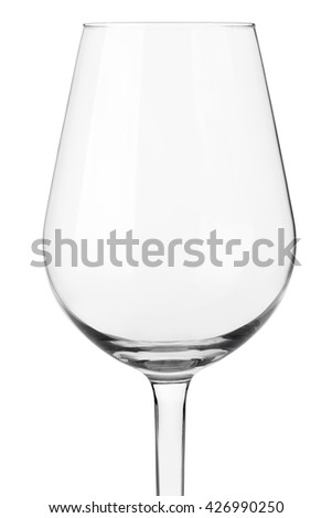 Empty wine glass close up on white, clipping path - stock photo