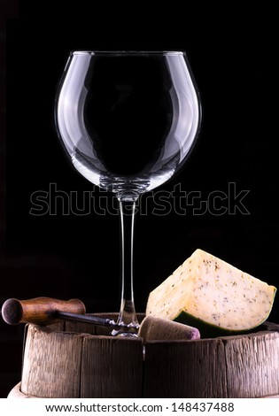 empty wine glass  in a black background