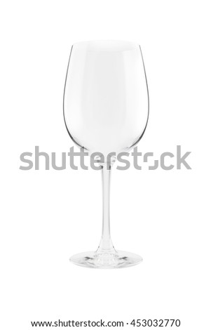 Empty wine glass. Isolated on a white background. With clipping path - stock photo