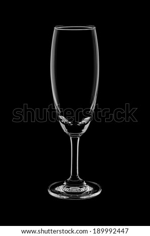 Empty wine glass isolated on black background