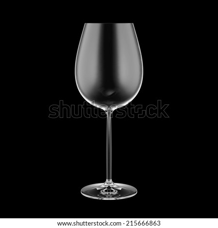 Empty wine glass isolated on black background.