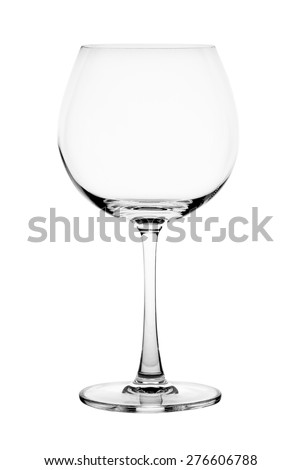 Empty wine glass isolated on the white background.
