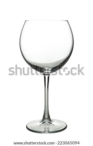 Empty wine glass isolated on white  - stock photo