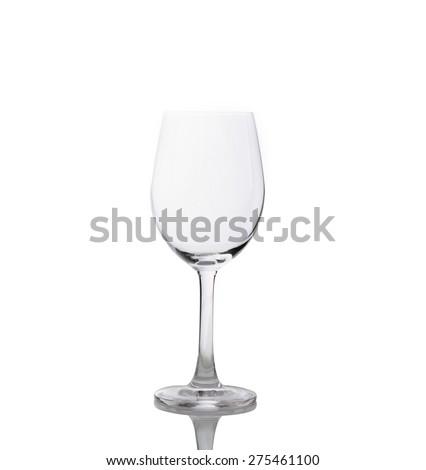 Empty wine glass isolated on white background - stock photo