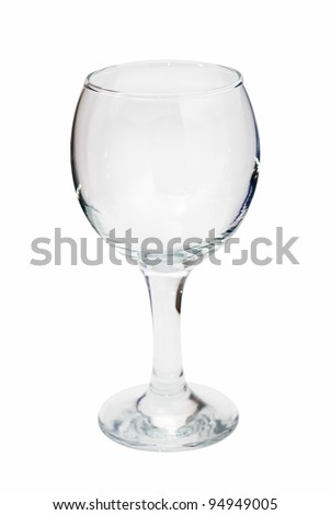 empty wine glass, isolated on white background - stock photo