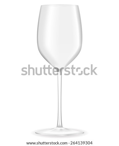 Empty wine glass isolated on white background. Raster version - stock photo