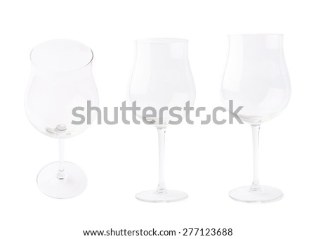 Empty wine glass isolated over the white background, set of three different foreshortenings - stock photo