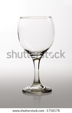 Empty wine glass on a white background