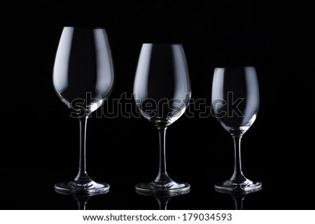 Empty wine glass on black background