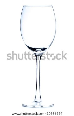 Empty wine glass over white background - stock photo