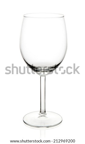 Empty wine glass placed on white background