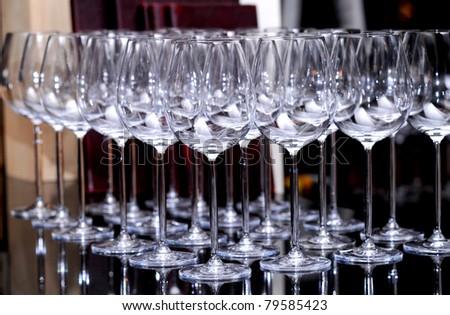 empty wine glasses - stock photo
