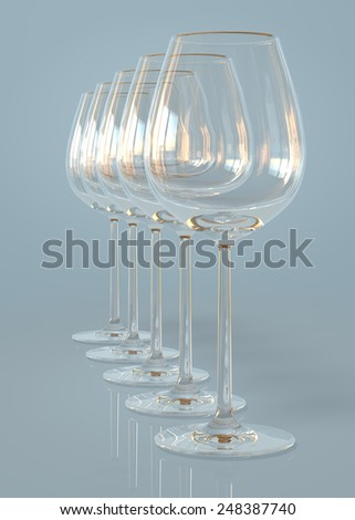 Empty wineglasses on a row - stock photo