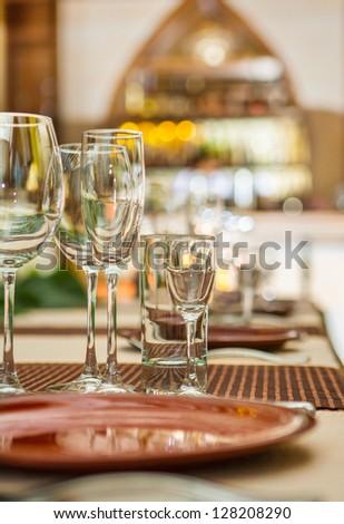 empty wineglasses on table - stock photo