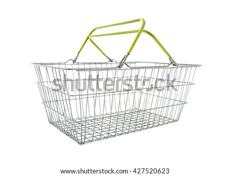 Empty Wire Shopping Basket on a white background