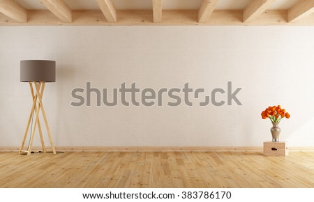 Empty withe room  with wooden beams,parquet,floor lamp and flowers- 3D Rendering - stock photo