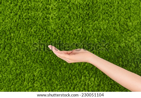 Empty Woman,female hand  holding, isolated on green background.