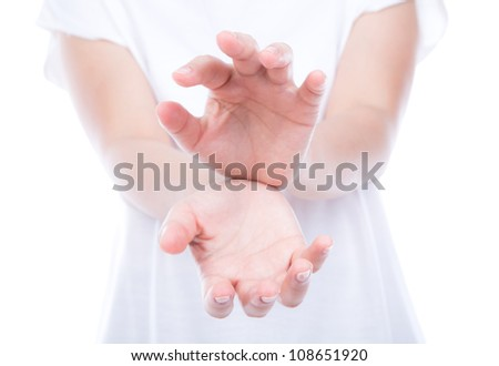 Empty woman hands over body isolated on background. - stock photo