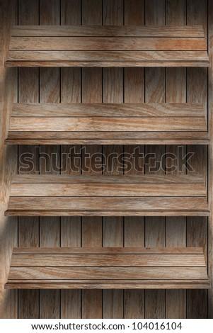 Empty wood bookshelf. grunge industrial interior Uneven diffuse lighting version. Design component - stock photo