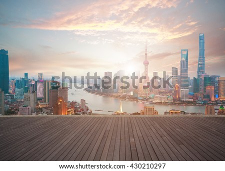 Empty wood floor textured with Aerial photography bird-eye view at Shanghai bund Skyline of sunrise