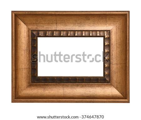 Empty wood photo frame - stock photo