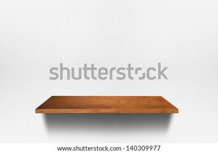 Empty wood shelf on room wall, Loft style concept design