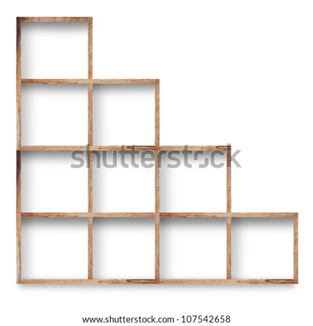 Empty wood shelf on wall, isolated on white background - stock photo