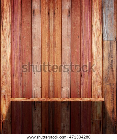 Empty Wood Shelf on wall with light and shadow