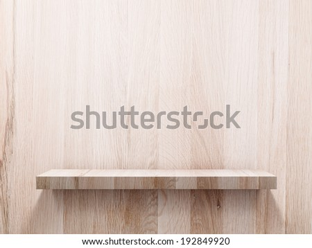 Empty wood shelf on wood wall  - stock photo