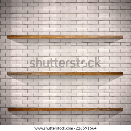 Empty wood shelves on white brick background. - stock photo