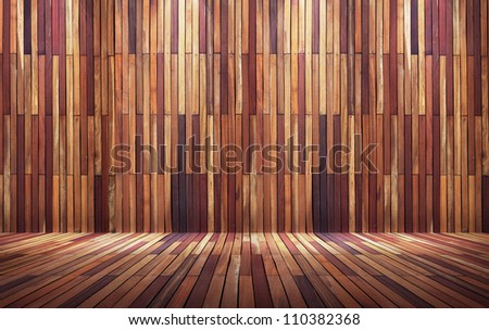 Empty wood wall with spot lights and wooden floor - stock photo