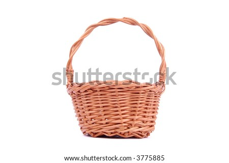 Empty wooden basket, isolated on white background