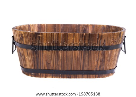 Empty wooden basket- solated on white background - stock photo