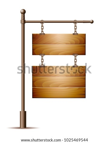Empty wooden board sign hanging on a chain isolated on white.  illustration