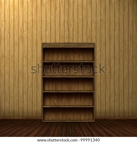 Empty wooden book shelf background illustration, computer graphic